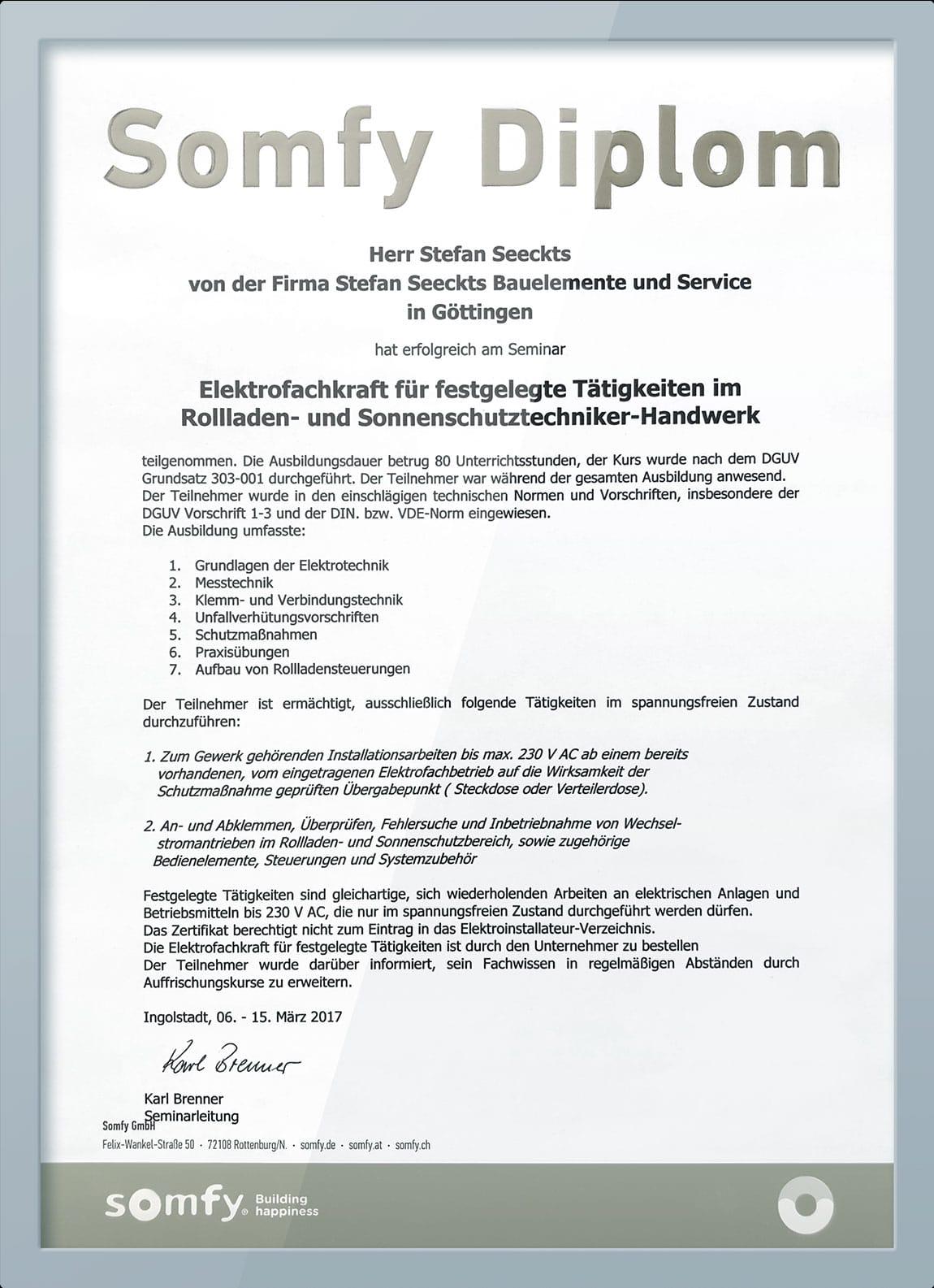 Diplom für Rollladen- und Sonnenschutztechnik