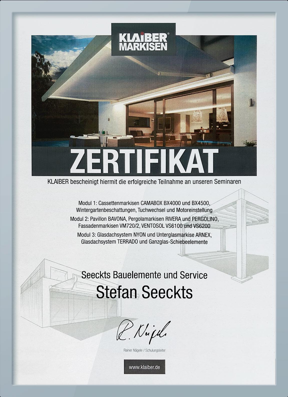 Zertifikat von Seeckts für Markisen, Pavillon und Glasdachsystem