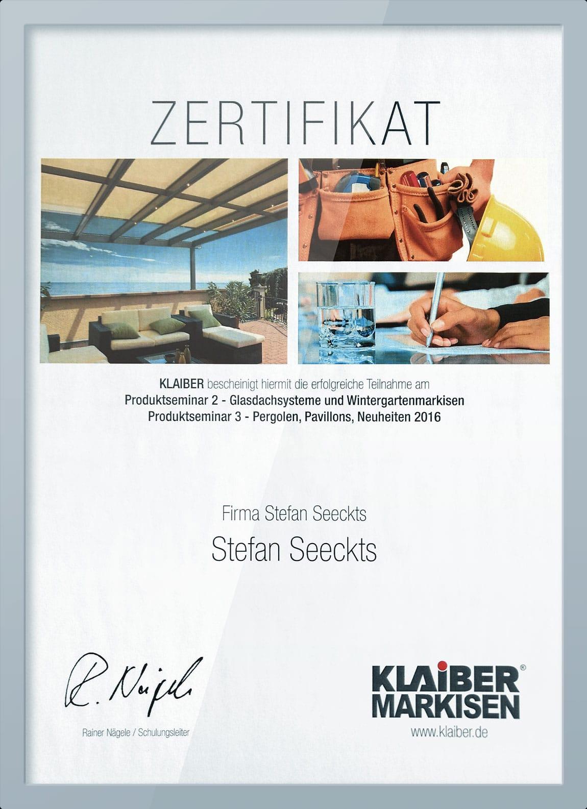 Zertifikat für Glasdach und Markise